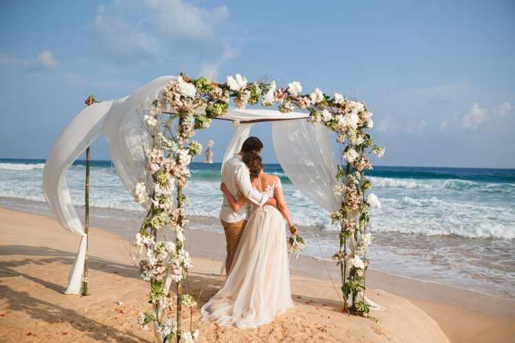 Beach Wedding Ceremony Couple